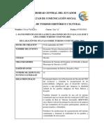 Datos Principales de Las Declaraciones de Otavalo, San José y Lima Sobre Turismo Comunitario