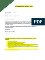 Sample Financial Self-sponsor Letter