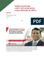 Cómo Entender La Prórroga Automática Del CAS a La Luz de Los Plenos Supremos Laborales de 2014 y 2016