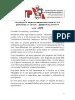 Discurso por 50 aniversario de reconstitución de la CGTP pronunciado por Gerónimo López Sevillano, SG CGTP Lima, 14/06/18