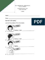 Y1 English Test Paper