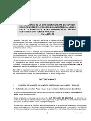 Admision Cgs 0405 Educación Vocacional Secundarias