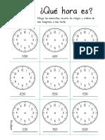 Qué Hora Es Dibuja Recorta y Ordena Nivel1