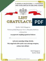 List Gratulacyjny Ucznia