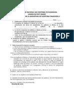 Examen Auditoria Financiera II Unsch Maestria