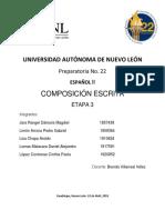 COMPOSICIÓN ESCRITA ESPAÑOL 2 ETAPA 3