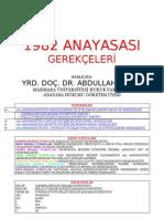 A. SEZER - 1982 Anayasası ve Değişiklikleri Genel ve Madde Gerekçeleri