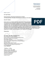 Pa Health Department Letter