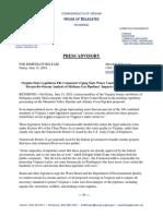 Press Advisory Re Legislators Letter on Pipelines