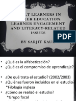 Resumen  de Adult learners in Higher Education