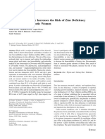 Dietary Fiber Intake Increases the Risk of Zinc Deficiency in Healthy and Diabetic Women