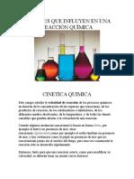 Factores Que Influyen en Una Reacción Química