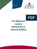 Pre Beginner Leisure - Worksheet 2