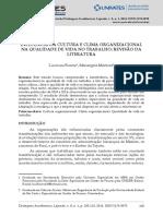 INFLUÊNCIA DA CULTURA E CLIMA ORGANIZACIONAL NA QUALIDADE DE VIDA NO TRABALHO