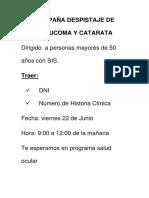 Campaña Despistaje de Glaucoma y Catarata