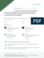 The Mixing Behaviour of Anionic and Nonionic Surfactant Blends in Aqueous Environment Correlates in Fatty Acid Ester Medium