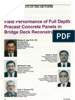 Field Performance of Full Depth Precast Concrete Panels in Bridge Deck Reconstruction