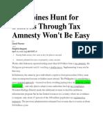 Philippines Hunt for Billions Through Tax Amnesty Won