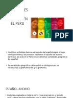 Variedades Del Español en El Peru