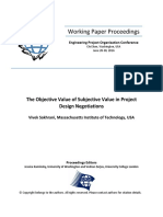 The Objective Value of Subjectve Value in Project Design Negotiations