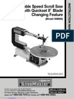 Delta 16 Inch Variable Speed Scroll Saw Model SM600 - Instruction Manual