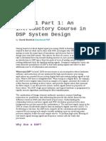 Introduction DSP - Digital Signal Processor