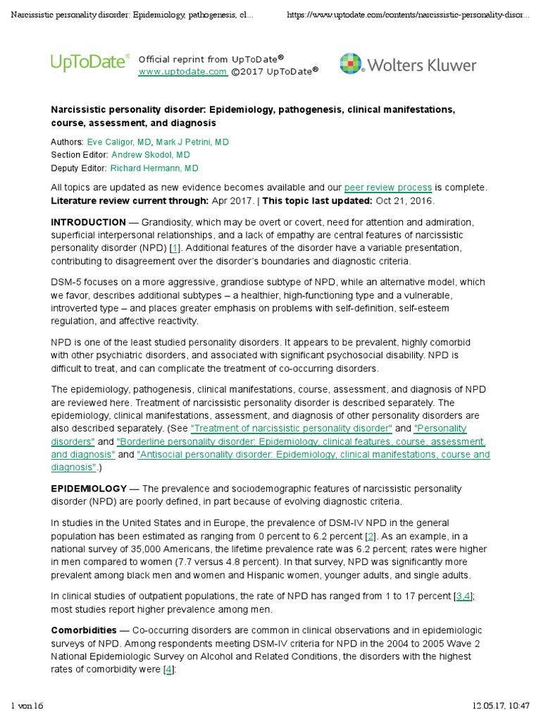 narcissistic personality disorder epidemiology, pathogenesis