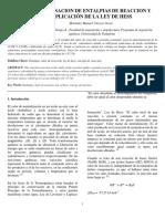 Determinacion de Entalpias de Reaccion y Aplicacion de La Ley de Hess