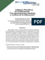 Visión Idealista y Realista de La Educación
