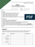 Prueba 3 (Clasificacion, Conversion, Orden, Ubicacion y Operatoria de Fracciones) (1) - Copia