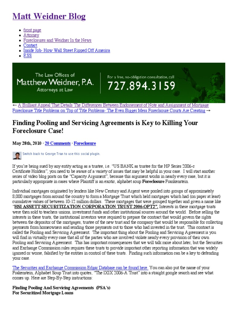 How To Find Pooling And Servicing Agreements Is Key To Killing Your