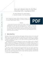 Algebraic solution and coherent states for the Dirac oscillator interacting with a topological defect