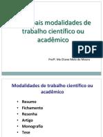 Principais Modalidades de Trabalho Científico Ou Acadêmico Eliane