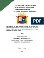 Tesis Propuesta de Implementacion de Un Sistema de Gestion de Seguridad y Salud Ocupacional Bajo La Norma Ohsas 18001