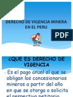 Derecho de Vivigencia Minera en El Peru