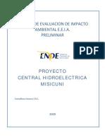 Estudio de Evaluacion de Impacto Ambiental e.e.i.a. Preliminar Proyecto Central Hidroelectrica Misicuni. Consultora_ Innova s.r.l.