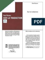 Paul Ricoeur - Sur La Traduction