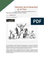 Día de La Abolición de La Esclavitud en El Perú
