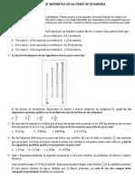 Examen de Matemática de 2do Grado de Secundaria