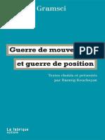 Guerre de Mouvement Et Guerre de Position Antonio Gramsci