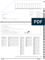 PET Reading and Writing Answer Sheet
