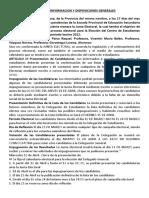 Acta de Conformacion y Disposiciones Generales