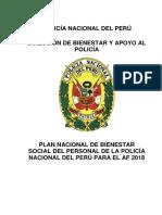 Plan Nacional de Bienestar Social Del Personal de La Policía Nacional Del Perú Para 2018
