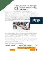 Bacaan Bilal Shalat Tarawih Dan Doa Shalat Tarawih Lengkap Bahasa Arab Dan Latin
