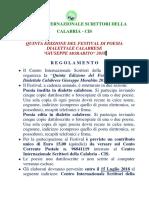 Reglamento FESTIVAl Poesia Dialettale Calabrese 2018