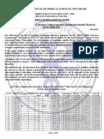 AIIMS MBBS Result 2018 List