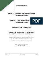 Sujet Français Bac Pro 2018