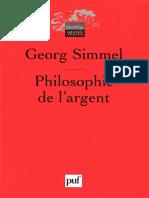 Simmel, Philosophie de l'Argent