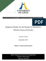 Wireless Sensor Networks for Vehicles