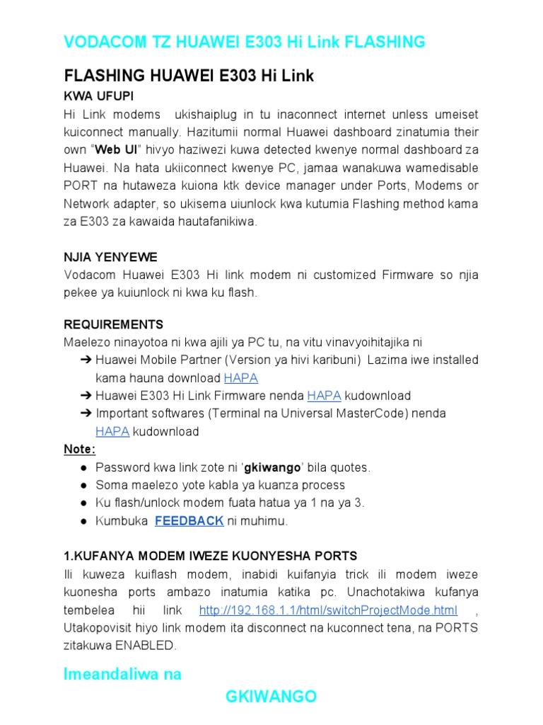 Vodacom E303 Hi LInk Flashing